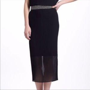 Anthropologie Bordeaux Fanfold Black Midi Skirt